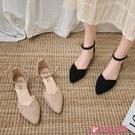 尖頭低跟鞋 包頭涼鞋女夏平底2021新款網紅百搭尖頭小清新學生少女低跟仙女鞋 小天使 618