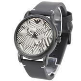 EMPORIO ARMANI經典LOGO雄鷹條紋橡膠錶帶腕錶43mm(AR11136)270312