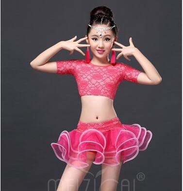 熊孩子☪幼兒拉丁舞蹈裙兒童爵士舞表演服新款拉丁舞裙少兒拉丁比賽服裝