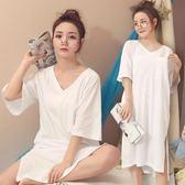 正韓可愛棉質胖MM睡衣女夏天睡裙 學生夏季孕婦 大尺碼 大呎碼性感寬鬆長裙三角衣櫥