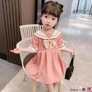 熱賣兒童洋裝 童裝女童連身裙夏裝2021新款洋氣學院風兒童女寶寶短袖雪紡裙子夏 coco