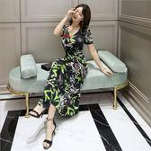 中大尺碼洋裝 冰絲棉V領短袖開叉印花氣質舒適連衣裙  L-5XL #wm787 ❤卡樂❤