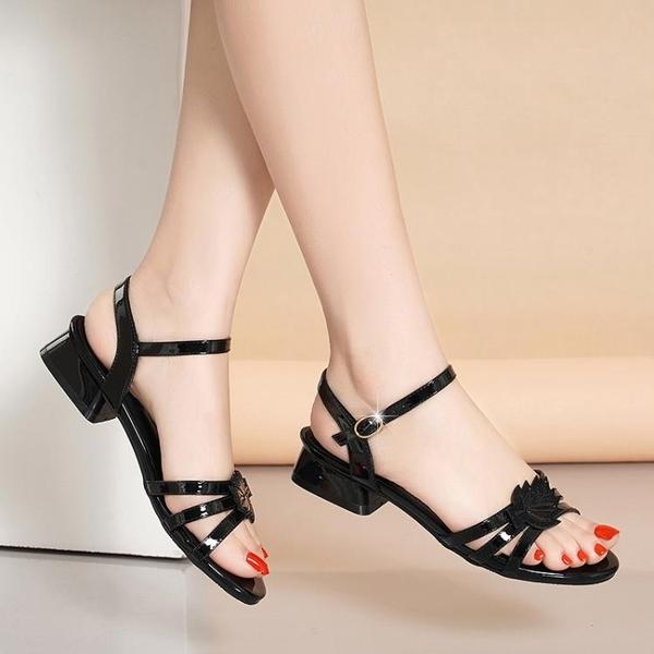 低跟鞋 真皮足意爾康女士涼鞋女低跟2021年新款夏季韓版粗跟時裝媽媽女鞋