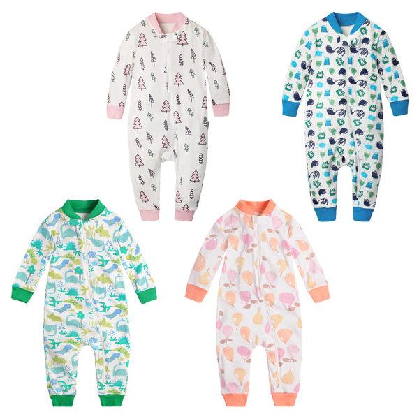 睡衣型連身衣 居家服 側開 爬服 哈衣 男寶寶 女寶寶 Augelute Baby 60161