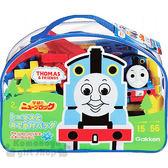 〔小禮堂〕湯瑪士火車 積木玩具組《藍.透明袋裝.彩色積木》適合2歲以上兒童 4905426-97077