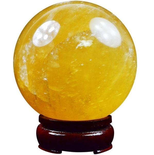風水球 避邪 招彩 已開光轉運球黃色水晶球擺件七星陣招財鎮宅10cm【快速出貨八折搶購】