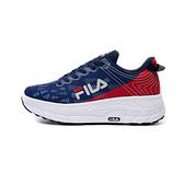 FILA CONTOUR LINE 男款丈青x紅厚底透氣慢跑休閒鞋 1J321V135