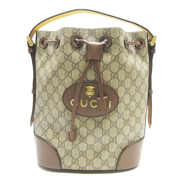 GUCCI 古馳 經典GG Supreme帆布印花皮革飾邊束口肩/後背水桶包 Neo Vintage BRAND OFF