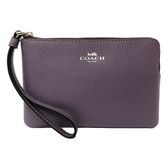 【COACH】防刮牛皮手拿零錢包(藤紫)