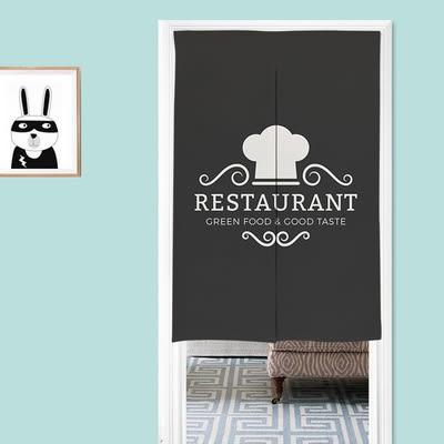 可愛時尚棉麻門簾E128 廚房半簾 咖啡簾 窗幔簾 穿杆簾 風水簾 (80cm寬*90cm高)