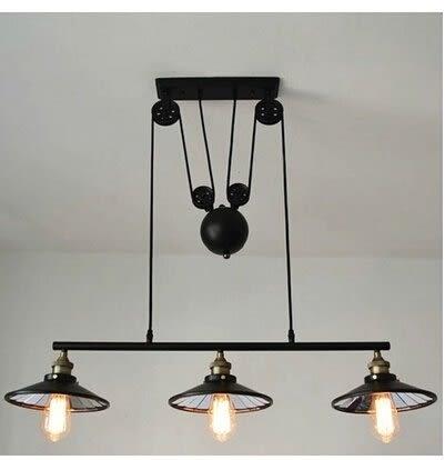 設計師美術精品館美式現代鄉村簡約個性創意餐廳臥室工業loft燈 升降鐵藝吊燈貼鏡