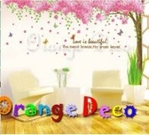 壁貼【橘果設計】櫻花樹 DIY組合壁貼/牆貼/壁紙/客廳臥室浴室幼稚園室內設計裝潢