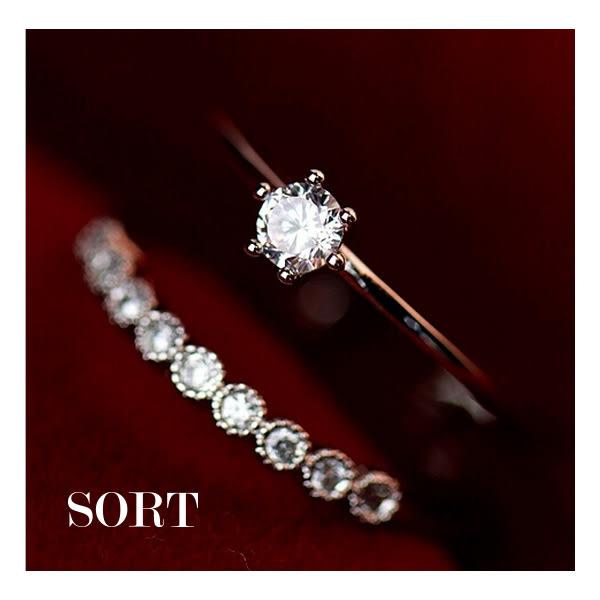 戒指 日韓公主系雙層精緻水鑽細款開口式戒指【1DDR0056】