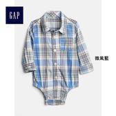 Gap男嬰兒 舒適純棉格紋三角式長袖包屁衣 441326-微風藍