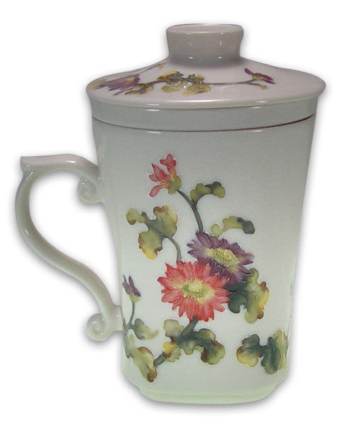 鹿港窯~法華器(線塑/浮彩)馬克杯【菊花】附精美盒◆免運費送到家