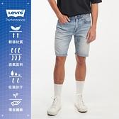 Levis 男款 上寬下窄 405膝上牛仔短褲 / Cool Jeasn輕彈有型 / 精工淺藍洗舊