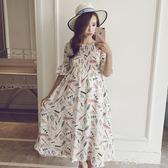 孕婦夏裝上衣孕婦連身裙短袖中長款夏時尚款雪紡裙子長裙 小確幸生活館