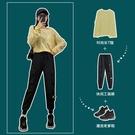 工裝褲 工裝褲女顯瘦高腰春秋黑色褲子寬鬆bf直筒歐洲法式束腳百搭運動褲