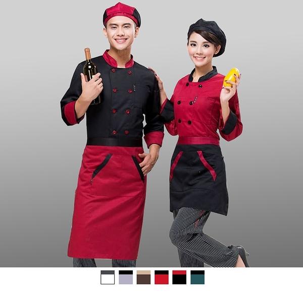 晶輝專業團體制服*CH031*酒店廚師服長袖蛋糕店烘焙廚房食堂工作服黑色雙排扣