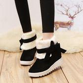 雪靴雪地靴女平底休閒兩穿女靴厚底絨毛保暖棉靴 優樂居