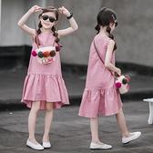 女童棉麻洋裝夏裝新款中大兒童寬鬆沙灘裙女孩荷葉邊公主背心裙 幸福第一站