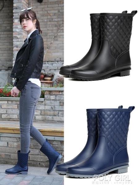 雨牧中筒雨鞋女防滑雨靴膠鞋加絨水靴平底套鞋防水時尚款外穿水鞋 poly girl