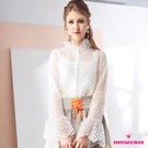【SHOWCASE】氣質花領二件式蕾絲透膚長袖襯衫(白)
