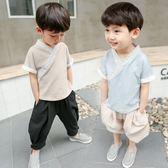 唐裝套裝男童 男寶寶周歲套裝3夏季兒童唐裝4男童夏款中國風漢服闊腿褲棉麻夏裝 米蘭街頭