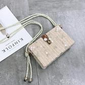 上新小包包女潮韓版百搭繡花盒子包單肩斜背包夏天仙女包 交換禮物