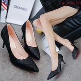 女鞋子尖頭單鞋中跟女士皮鞋黑色高跟鞋