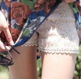 【全館】82折夏季薄款三分安全褲 黑色蕾絲外穿打底褲女 防走光短褲保險褲大碼中秋佳節
