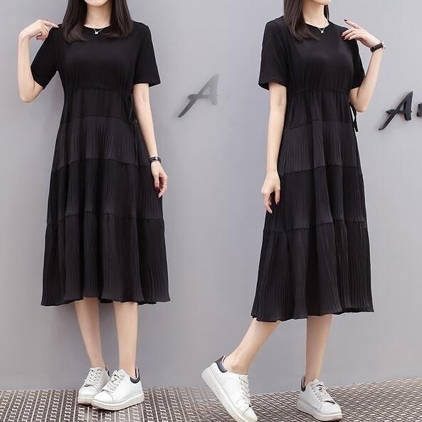 洋裝連身裙中大尺碼M-4XL大碼遮肚顯廋中長款寬鬆繫帶T卹裙4F101-8835.胖妹大碼