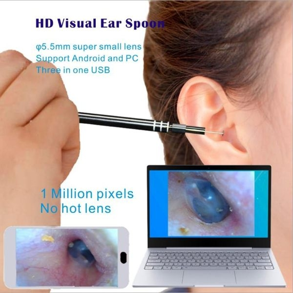 鏡頭式挖耳棒 二合壹成人兒童耳窺鏡手機電腦掏耳神器