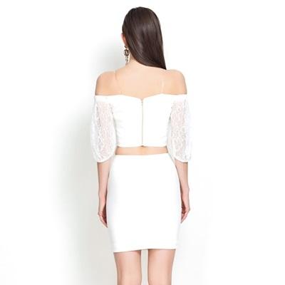 一字領五分袖上衣+短裙(兩件套)-時尚性感優雅蕾絲女裙裝73lk21[巴黎精品]