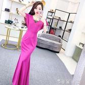 夏季女裝韓版氣質名媛網紗拼接V領蝙蝠短袖袖修身包臀長裙連身裙 薔薇時尚