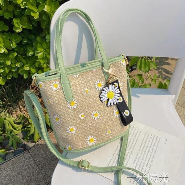 夏天草編蕾絲包手提仙女包新款潮編織斜背包/側背包女大容量單肩包 一米陽光