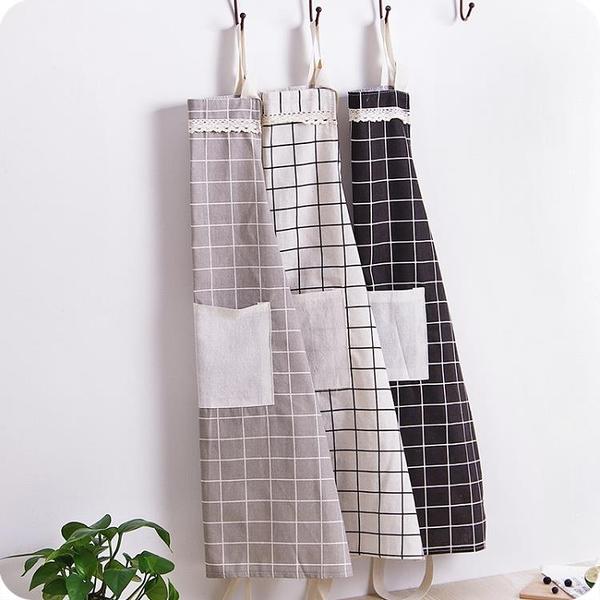 2件裝 韓版時尚棉麻圍裙 男女廚房做飯防油罩衣防污圍腰【南風小舖】