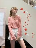 MG小象V領針織衫女秋裝2019新款長袖寬鬆毛衣粉色套頭打底上衣潮 米娜小鋪