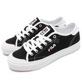 FILA 休閒鞋 黑 白 基本款 帆布鞋面材質 刺繡小LOGO 復古 女鞋 運動鞋【PUMP306】 5C910S001