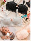 新年好禮85折 日系少女內衣套裝女士半杯文胸聚攏小胸罩性感無鋼圈蕾絲罩杯薄款