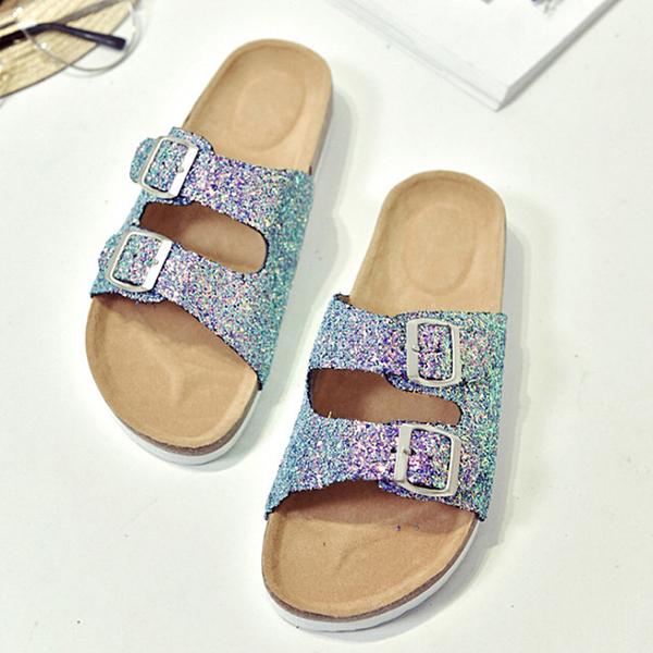 【Jingle】潮流時尚閃亮軟木雙扣一字拖夾腳涼拖鞋(亮片綠紫全尺碼)