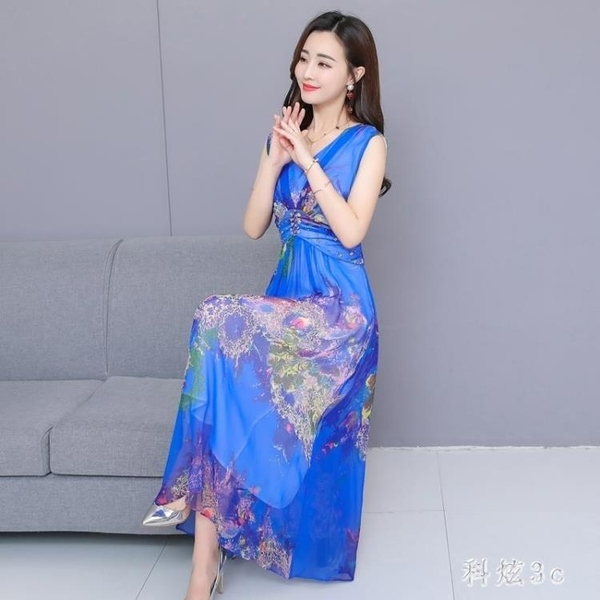 2020新長款韓版夏天流行復古高腰v領沙灘連身裙子女氣質顯瘦 FX4320 【科炫3c】