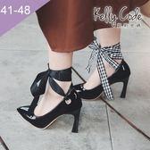 大尺碼女鞋-凱莉密碼-時尚名媛風綁帶兩穿漆皮尖頭小粗跟高跟鞋9cm(41-48)【XL454】黑色