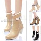 高跟雨鞋女韓國春夏女士短筒雨靴高跟加棉可拆卸水鞋防滑坡跟膠鞋休閒單雨鞋 快速出貨
