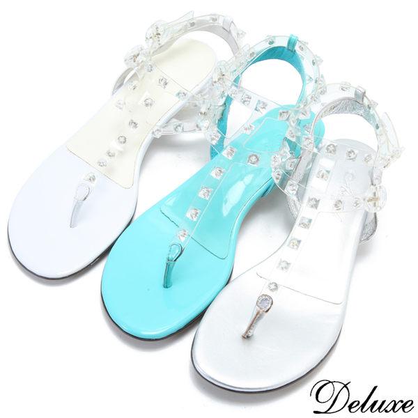 【Deluxe】時尚水晶透視感鉚釘清涼夾腳涼鞋(白-藍-銀)