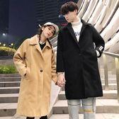情侶外套情侶呢大衣女冬季中長款加厚ins寬鬆純色毛呢外套女韓版 莎瓦迪卡