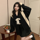 VK精品服飾 韓國風寬鬆拼色學院風蝴蝶結毛衣復古針織衫單品外套