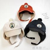 兒童雷鋒帽秋冬加絨保暖球球卡通刺繡兒童棒球帽子潮范寶寶護耳帽『快速出貨』
