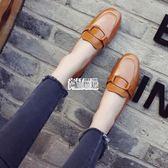 粗跟單鞋女中跟復古漆皮方扣小皮鞋工作鞋方頭懶人鞋