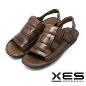 XES 夏日休閒涼鞋 MIT 真皮皮帶式涼鞋_咖啡色
